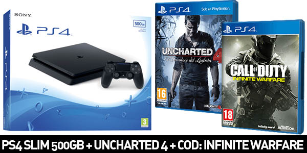 PS4 Slim 500GB + UNCHARTED 4 + Call Of Duty: Infinite Warfrare