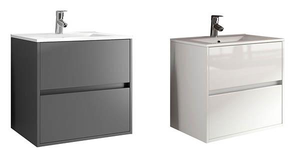 Mueble Baño Noja Gris:Chollo Conjunto de baño Salgar Noja con mueble, lavabo, espejo y