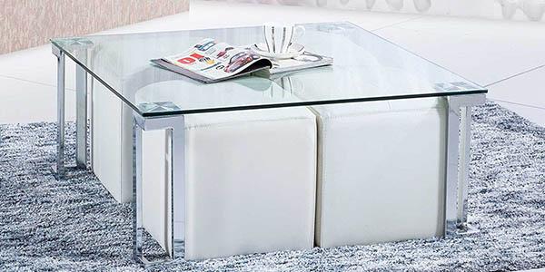 Mesa de centro dal de sedutahome en cristal y metal - Mesa cristal salon ...