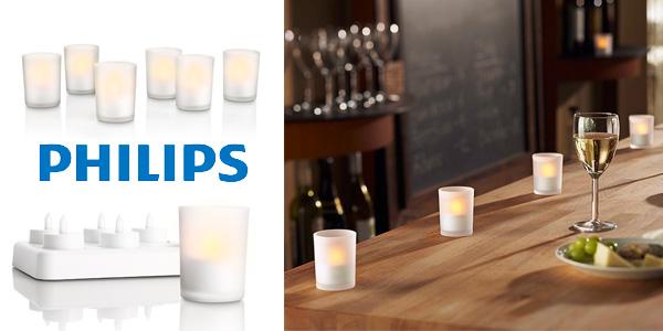 Set de 6 velas LED Philips Tealights con cargador a buen precio en Amazon