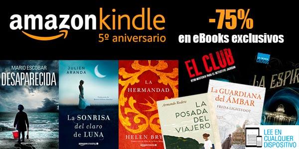 eBooks rebajados un 75% en Amazon por el 5 aniversario y descuentos en otras selecciones
