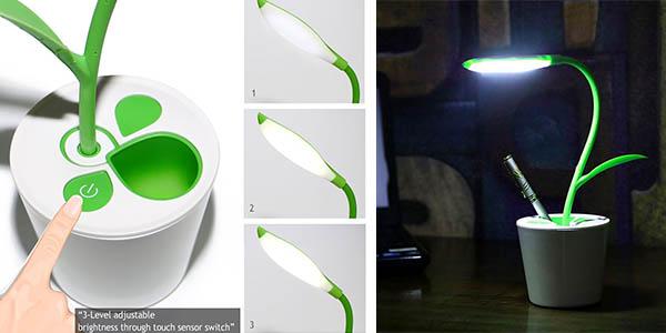 lampara escritorio LED forma flor barata