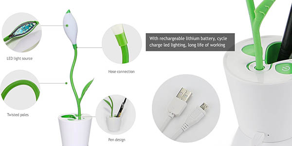 lampara LED mesa decorativa recargable USB