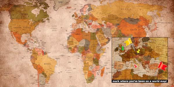 Genial pster del mapa del mundo en versin atlas vintage mural
