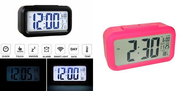 Chollo reloj digital led kosee con despertador y luz de for Reloj digital de mesa