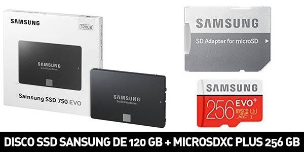 Pack de Disco SSD Samsung de 120 GB + microSDXC Plus de 256 GB