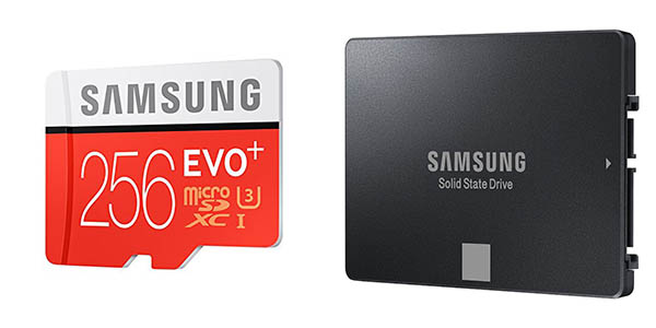Disco SSD Samsung de 120 GB + microSDXC Plus de 256 GB