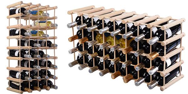 funcional botellero 40 botellas vino madera pino gran relación calidad-precio
