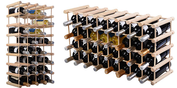 Botellero para 40 botellas de vino en madera de pino por - Botellero de madera para vino ...