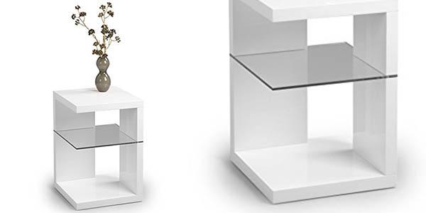 mesa auxiliar rinconera blanco brillo funcional diseño moderno