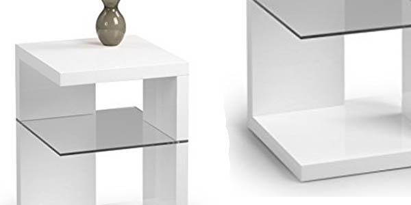 mesa rinconera blanco brillo balda cristal resistente relación calidad-precio espectacular