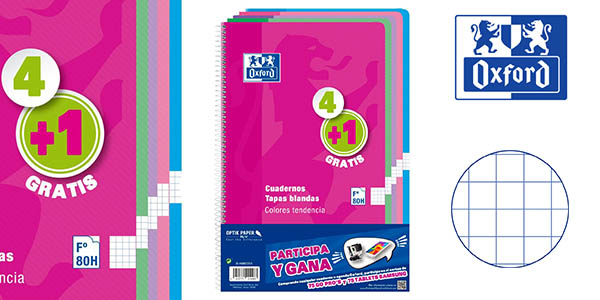 Pack 5 cuadernos Oxford 80 páginas baratO