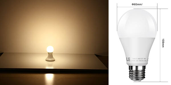 6 bombillas LED blanco cálido 9W casquillo gordo