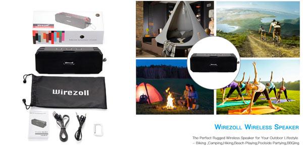 Altavoz inalámbrico Wirezoll impermeable para planes al aire libre
