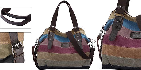 bolso lona multicolor mujer barato
