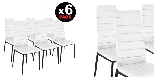 Chollo brutal pack de 6 sillas de comedor modernas por for Sillas comedor carrefour