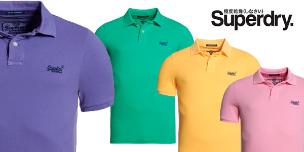 Polo para hombre Superdry Vintage Destroyed Washed Satsuma