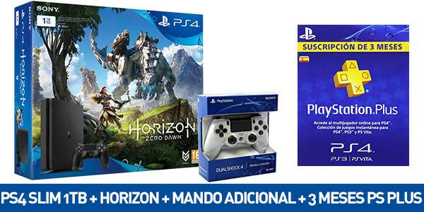 PS4 1TB + Horizon Zero Dawn + DualShock V2 blanco + 90 días de PS Plus