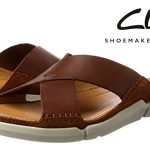 Sandalias Clarks Trisand Cross para hombre cuero marrón rebajadas en Amazon con cupón de descuento