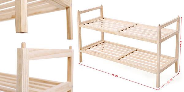 songmics estantería 2 niveles madera funcional barata