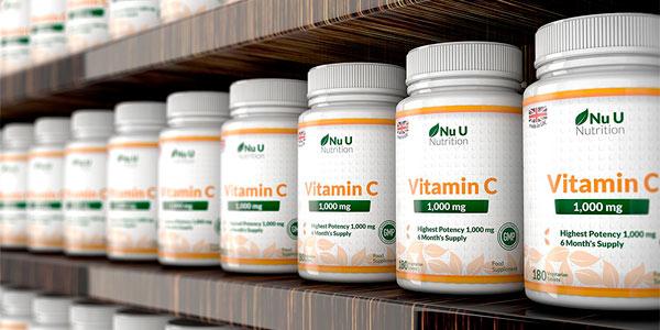 Vitamina C frasco de 180 comprimidos 1000 mg. Nu U Nutrition rebajado en Amazon