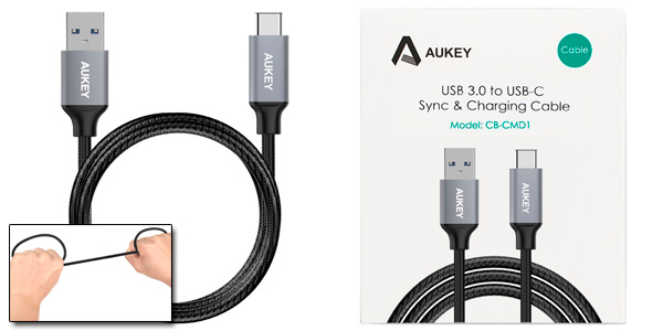 Pack 3 cables resistentes Aukey USB C a USB 3.0 A