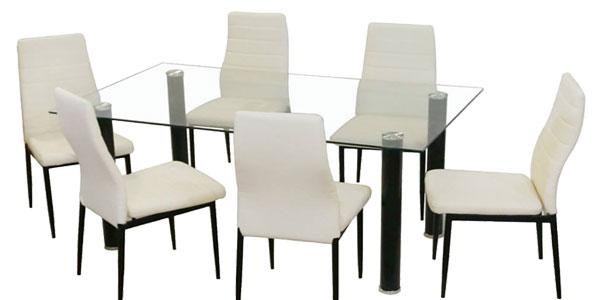 Chollazo conjunto mesa de comedor de cristal y 4 sillas en blanco ...