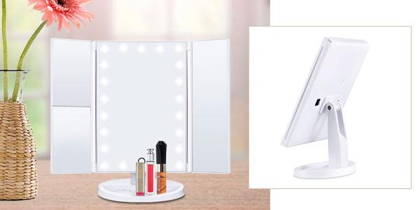 Chollo espejo de maquillaje tr ptico con aumentos for Oferta espejos pared