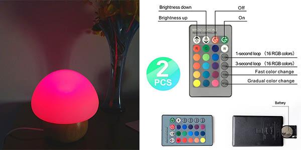 lámpara forma seta 6 modos luz bajo consumo