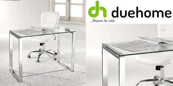Mesa multifuncional DueHome Benetto en cristal y patas cromadas por ...