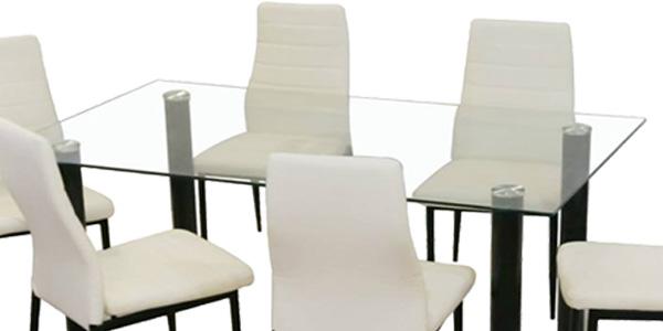 Set comedor formado pr mesa con sobre de cristal y 4 sillas de polipiel blancas baratas en eBay