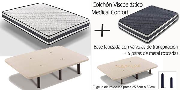 Base de cama tapizada con v lvulas y 6 patas colch n viscoel stico desde 170 varias medidas - Base para colchon viscoelastico ...