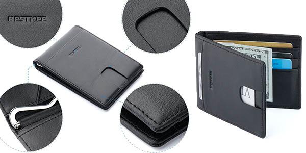 billetera para tarjetas en cuero negro tamaño ideal bolsillo pantalón con seguro anti-robo