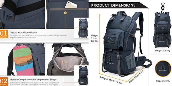 mochila con compartimentos práctica y resistente Mountaintop barata
