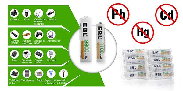 Pack8 pilas recargables EBL AA 2800mAh y AAA 1100mAh
