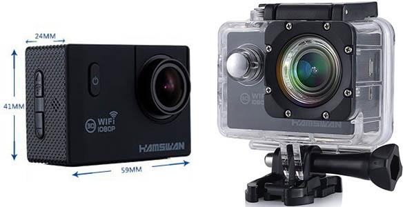 Cámara deportivaHamswan 1080p con carcasa sumergible