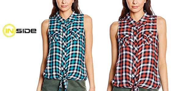 Camisa de cuadros sin mangas para mujer Inside chollo en Amazon Moda