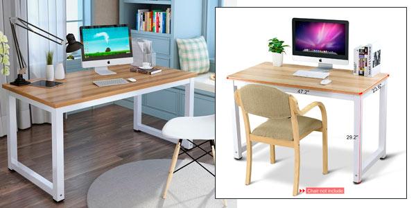 Mesa de escritorio para casa u oficina tribesigns en roble for Mesa ordenador amazon