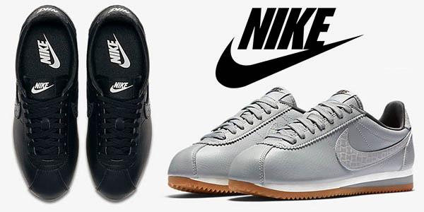 Nike Classic Cortez Leather Lux en gris y negro tallas unisex baratas