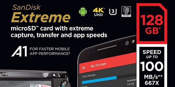 Tarjeta MicroSDXC SanDisk Extreme A1 de 128 GB