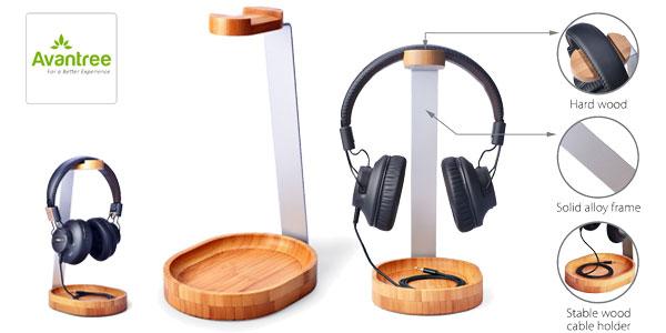 Soporte para auriculares Avantree en maderá de bambú y aluminio chollo en Amazon