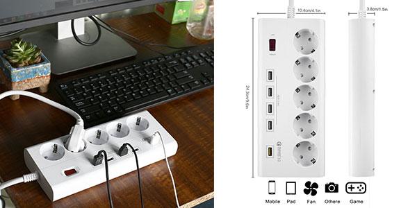 Regleta multifunción Sweetchestnut con 5 enchufes y 5 puertos USB con extensión de 1,8 m muy barata