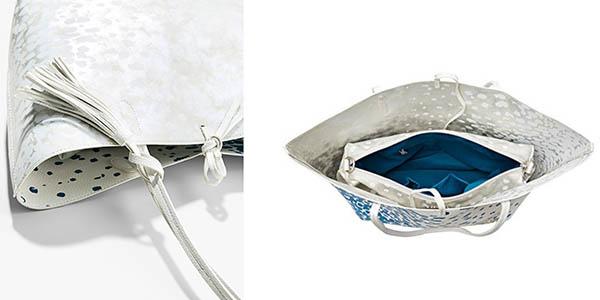 bolso shopper Desigual Capri Salada en azul y blanco