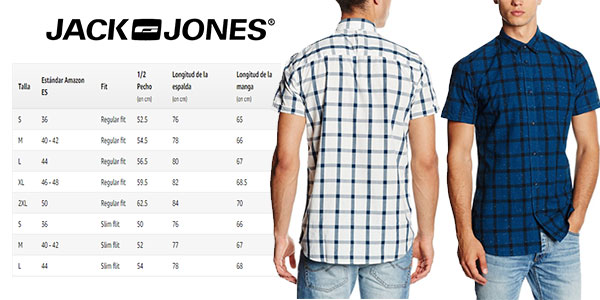 Camisa de manga corta casual para hombre Jack & Jones muy barata azul y blanco