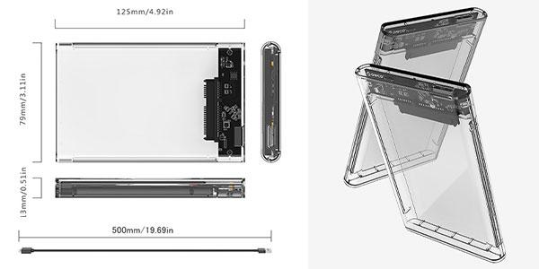 Carcasa Eluteng disco duro SSD USB 3.0 de 2 TB en Amazon