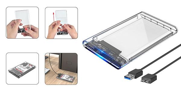 Carcasa transparente disco duro portátil Eluteng barata en Amazon