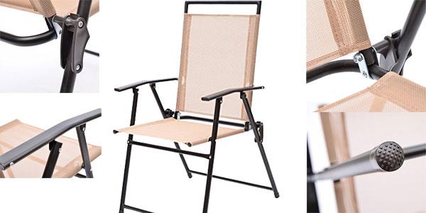 Chollo Conjunto De Muebles De Jardin Outsunny Con 4 Sillas Plegables