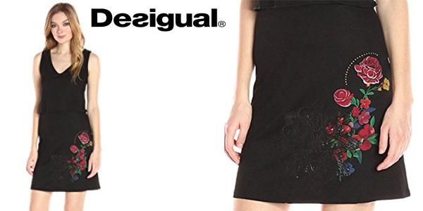 1021875b0a Desigual vestido negro con estampado de flores barato en Amazon