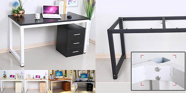Chollo Mesa de escritorio para casa u oficina en MDF y metal por ...