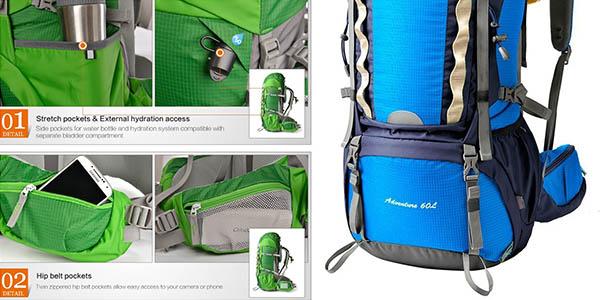 mochila Mountaintop para senderismo o viajes 60 litros capacidad ajustable y acolchada